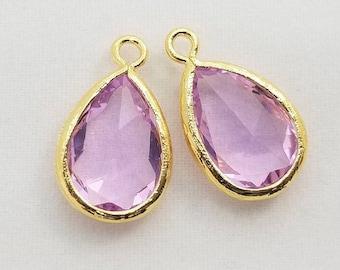 2 pcs Lavender Purple Faceted Teardrop Glass Stone Pendant Charm Findings, Gold Plated Bezel Setting, PC-0201