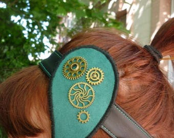 This headband drop with steampunk gears