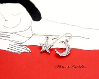 Moon Star Earrings, Star Earrings, Moon Earrings, Silver Moon Star Earrings, Pave Moon Star Earrings, Moon Star Rhinestone Earrings