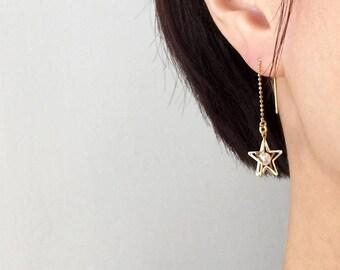 Star Earrings, Star Threader Earrings, Gold Star Earrings, Gold Star Threader Earrings, Pearl Earrings, Pearl Star Earrings, Star Jewelry