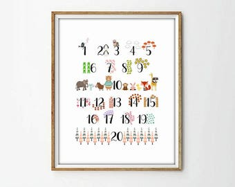 nursery wall art, nursery numbers, kids art room, kids art decor, nursery print, nursery decor, baby print, baby decor, animal print