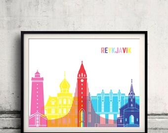 Reykjavik skyline pop - Fine Art Print Glicee Poster Gift Illustration Pop Art Colorful Landmarks - SKU 2537