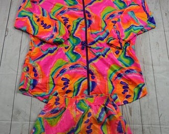Vintage 80s JAG Jacket & Shorts Adult Medium Pink Green Orange Blue Purple Multi Color Colorful