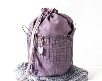 Large Laundry bag made of stone washed linen in lavender color - Hanging laundry bag