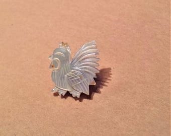 Mother of Pearl Rooster Pin