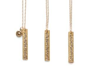 Longitude Jewelry, Home Necklace, Latitude Longitude necklace,Coordinate Necklace,Map Coordinate Jewelry,Vertical Bar,Location Necklace