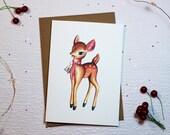 KITSCH CHRISTMAS CARD | Reindeer/Bambi Vintage Watercolour Design