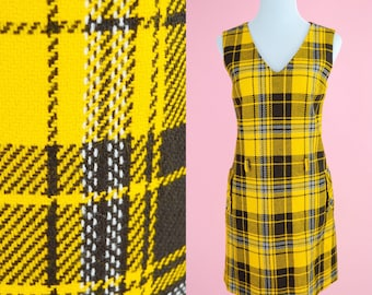Fritzi of California, Vintage 60s Plaid Dress // 1960s, Yellow and Brown Print, Clueless Costume, Retro Shift, Day Dress, Women Size Medium