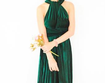 Green velvet dress ,  Bridesmaid Dress, Infinity Dress , Prom Dress, Convertible Dress, Wrap Dress, Long Dress, Eveing Dress, Ball Gown