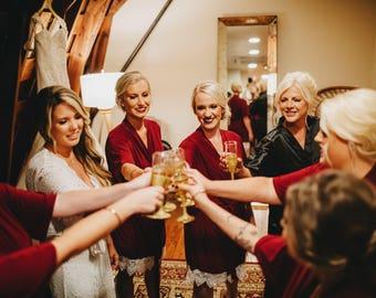 Burgundy  Bridesmaid Robes - Bridesmaid gift - Getting Ready Robe -  Bridal Party Robes - Bridal Gift, Lace Robe