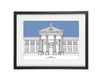 Ashmoleam Museum | Oxford Print | Oxford Illustration | University Print | Graduation Gift | City Print | Architectural Print