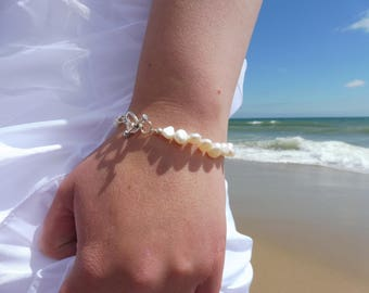 Ivory Freshwater Pearl Bracelet with toggle clasp.  Traditional pearl bridal jewellery. 1 or 2 layers. Anklet & choker necklace also.