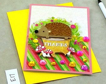 Hedgehog Card, Hedgehog Accessory, Greeting Card, Handmade Card, Blank Greeting Card, Personalized Thank You Card, Stationery, Gift for Her