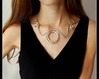"""Necklace PEARL-coloured aluminium """"central circle""""-aluminum jewelry-jewelry-contemporary necklace-made in Italy"""