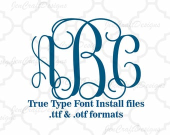 Vine Interlocking Monogram Font in True Type format .TTF & .OTF Installable Font for Cricut, Design Space, Microsoft Word and more