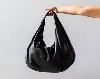 BLACK - Large hobo Bag, black soft leather hobo bag, leather hobo bag, hobo bag large, black leather bag, hobo bag black, genuine, boho