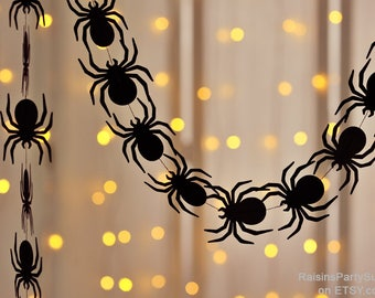 spider sewn paper garland spiderman birthday party photo prop halloween decorations spooky decor spider bunting spider - Spider Decorations