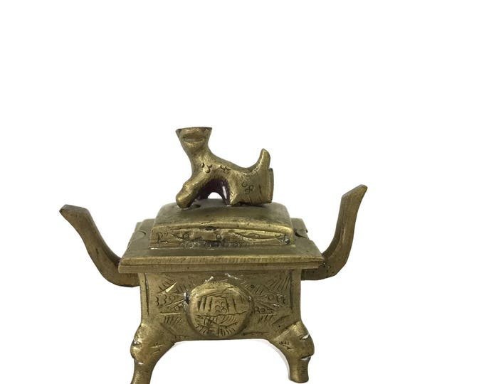 Vintage Brass Foo Dog Censer