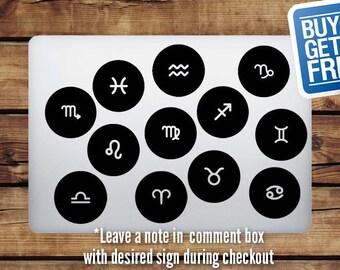 Zodiac Sign Aries Taurus Gemini Cancer Leo Virgo Libra Scorpio Sagittarius Capricorn Aquarius Pisces - Macbook Apple Decal Sticker