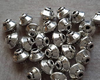 Beads, beads spacer cones beaded ethnic boho silver Metal - 5 x 4 mm