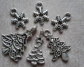 Charms pendant - Christmas - Christmas tree and snowflake star tree mix - metal