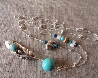 Native American necklace in turquoise with feather
