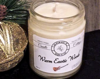 Organic Warm Exotic Woods Soy Candle-Pure Essential Oil Candle- Holiday Gifts- Vegan- Natural Scent Candle-Exotic Scent-Signature Scent