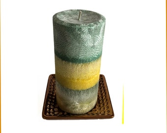 Organic Lemon Verbena Pillar Candle- Hand-Crafted- Pure Essential Oil- Gift Ideas- Home Decor- Rustic Decor- Fresh Scent-
