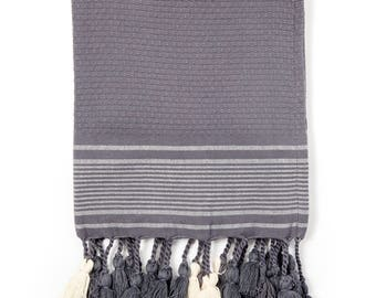 Hand Towel/ Towel with Pom Pom / Anthracite /  Organic Cotton Towel / Face Towel /Bath Towel / Guest Towel / Fringes /