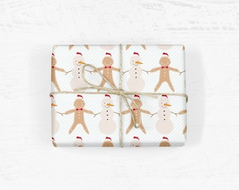 Snowman & Gingerbread Man Wrapping Paper