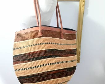 Striped sisal market bag with leather strap /Market/tote/shoulder bag/jute/sisal/