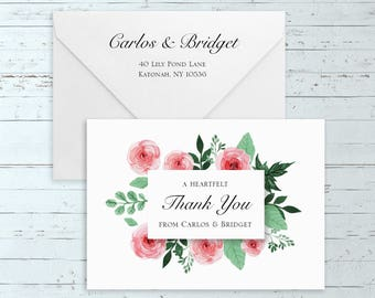 Watercolor Roses Thank You Cards - (Elegant, Romantic, Rustic, Boho, Chic, Personalized, Custom Wedding Suite w/ Pink Watercolor Roses)