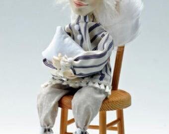 Mr. Ricardo Angel, Artdoll, Paperclay Art Doll, Angel Doll, Dreaming Angel, Art Dolls, OOAK Dolls, Angels, Sculpted Art Dolls