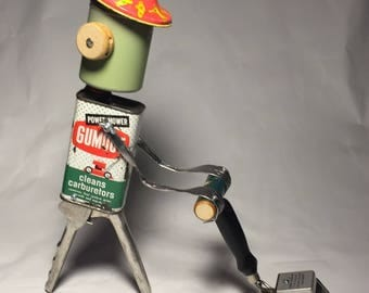 Just a Little Bot Mower - RESERVED FOR BUYER 6/6 - Assemblage Art Lawnmower Man Sculpture