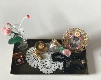 dollhouse brass cosmetic vanity tray