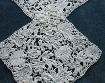 Antique Pair Victorian Hand Made Irish Crochet Lace Inserts