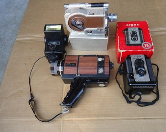 Vintage camera lot,film camera parts photography,argus lumar,vivitar,revere magazine,sears,etc..