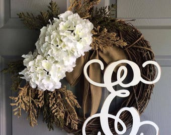 Spring Wreath - Monogram Wreath - Everyday Wreath - Front Door Wreath - Wreath for Front Door - Door Wreath - Initial Wreath - Door Decor