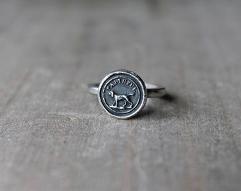 Dog wax seal fine silver ring