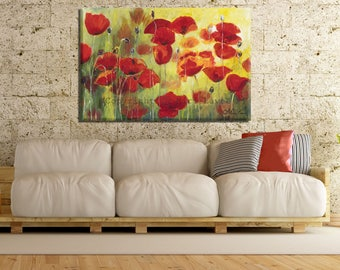 Modern Canvas Art, Flower Canvas Art, Red Flowers Art, Large Canvas, Modern Artwork, Living Room Wall Art, Large Pictures, Extra Large Art