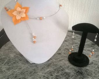 Bridal dress wedding party necklace and earrings, ivory or white / orange ceremony Christmas white silk flower