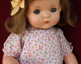"Vintage Composition 19"" Patsy Ann doll by Effanbee with Human hair and sweet Batiste floral dress ~"