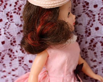 """Vintage doll hat, classic 1950's Pill box hat  in 3 colors for your 10.5"""" fashion dolls and 8"""" dolls~ Fits Ginny too! Pick your shade"""