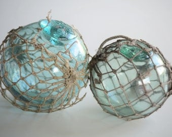 Pair of Antique Japanese Fishing Floats with Original Netting