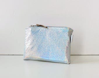 Holographic Leather Cosmetic Bag / Bridesmaid Gift, Wedding Clutch, Leather Purse, Small Leather Pouch, Leather Makeup Bag, Soft Leather Bag