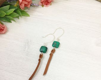 Azurite Malachite Earrings with Brown Leather >> Natural Stone Jewelry >> Southwestern Earrings >> Nature Hippie Bohemian >> Gifts For Her