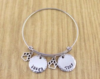 Personalized Paw Bangle || Dog Paw Print Bracelet || Dog Bracelet || Pet Jewelry || 5 Star Etsy Seller || In Memory Of || Gift For Dog Lover