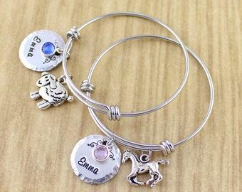 Little Girls Charm Bangle • Little Girls Bracelet • Little Girls Jewelry • Girls Name Bracelet • Girls Birthstone Bracelet • Choose Charm