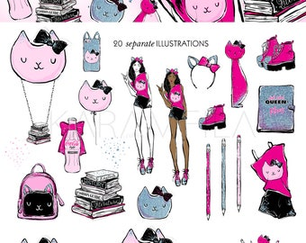Back To School Clipart, College Student Clipart Teen Girl Fashion Illustration Coke Clipart Books Air Balloon Cat Glitter Planner Stickers