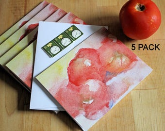 Tomato Kitchen Cards Tomatoes Recipe Note Card Hostess Housewarming Foodie Thank You Gift 5 Blank Watercolor Dinner Party Invitations Food